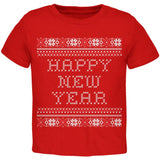 Happy New Year Ugly Christmas Sweater Black Toddler T-Shirt