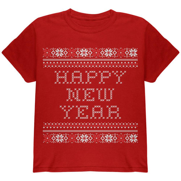 Happy New Year Ugly Christmas Sweater Black Youth T-Shirt