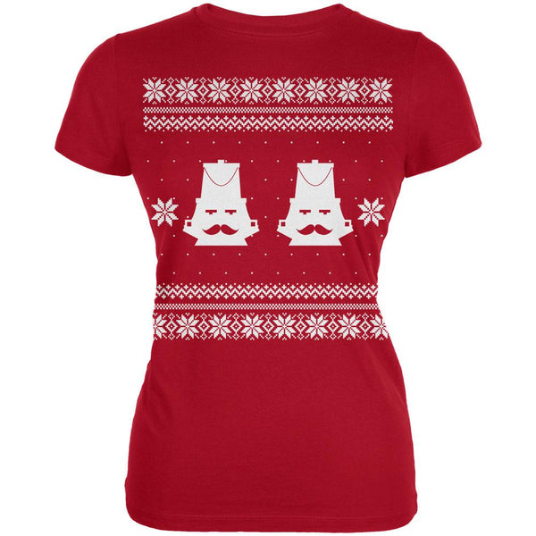 Nutcracker Ugly Christmas Sweater Red Juniors T-Shirt