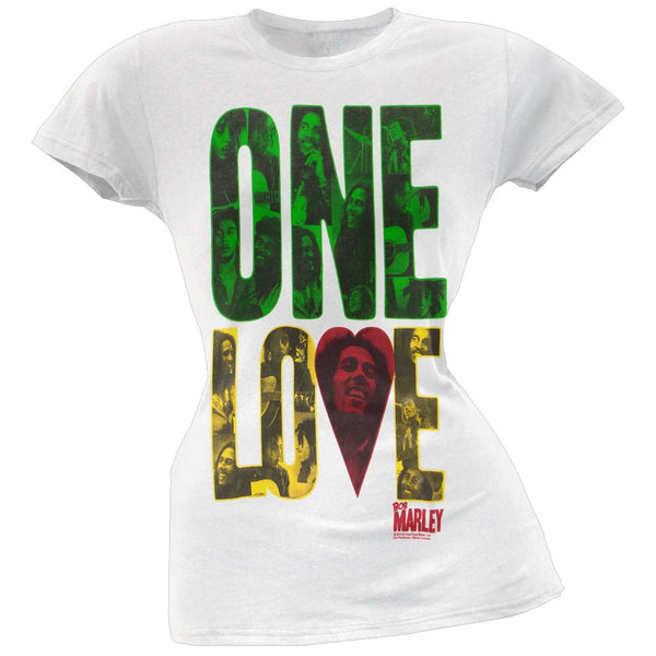 Bob Marley - One Love Block White Juniors T-Shirt