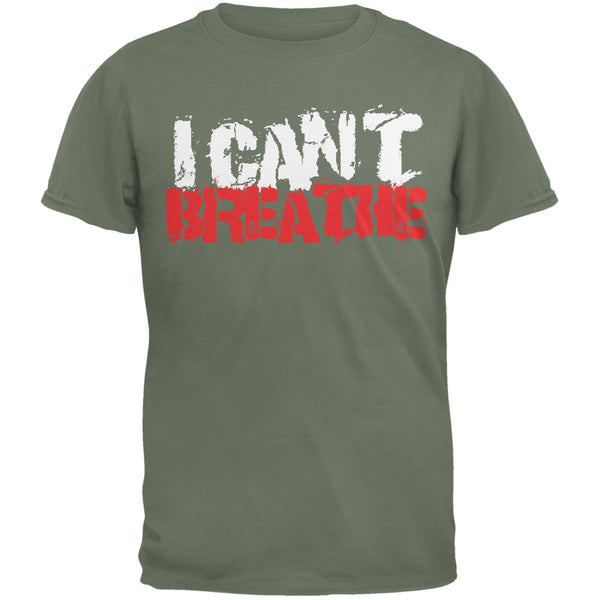 I Can't Breathe Grunge Military Green Adult T-Shirt