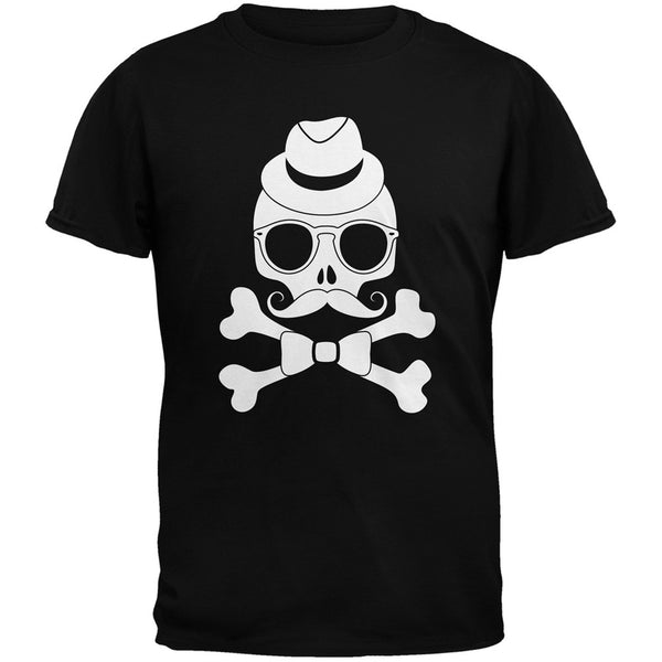 Hipster Skull And Crossbones Grey Adult T-Shirt
