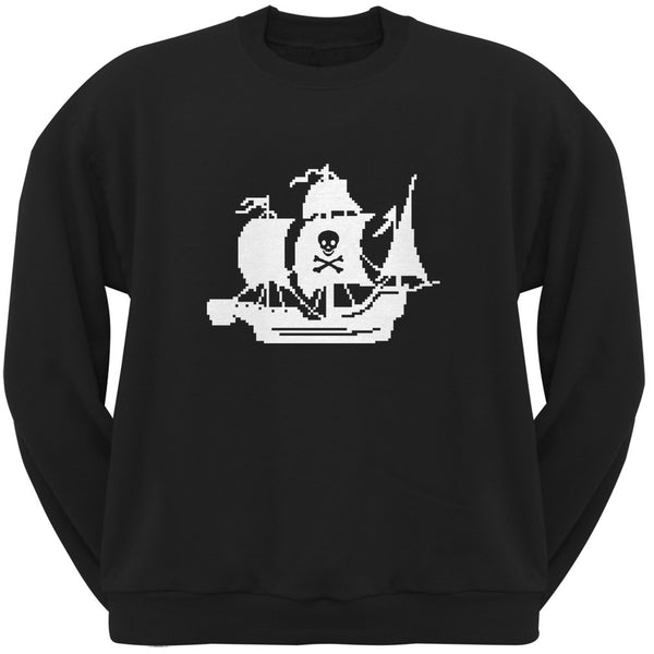 8-Bit Pirate Ship Black Crew Neck Sweatshirt