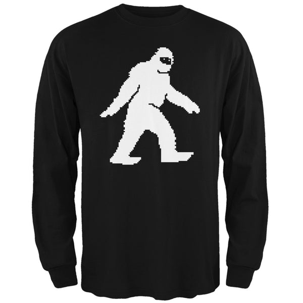 8-Bit Sasquatch Black Adult Long Sleeve T-Shirt