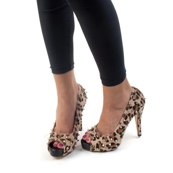 Abbey Dawn - WTH Leopard Peeptoe Women's Platform Shoes