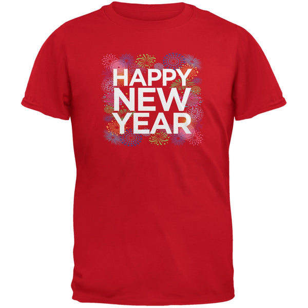 Happy New Year Fireworks Black Youth T-Shirt