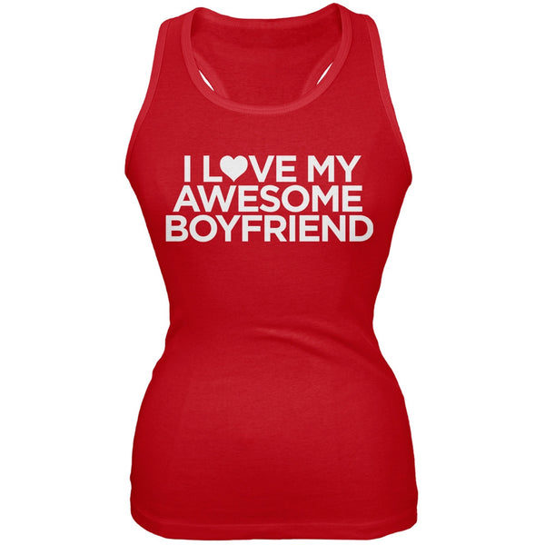 I Love My Awesome Boyfriend Red Juniors Tank Top