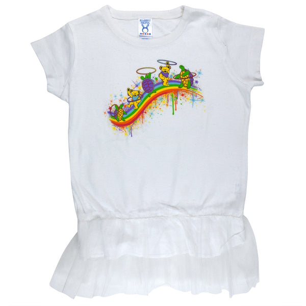 Grateful Dead - Rainbow Hoopers Tutu White Toddler Dress