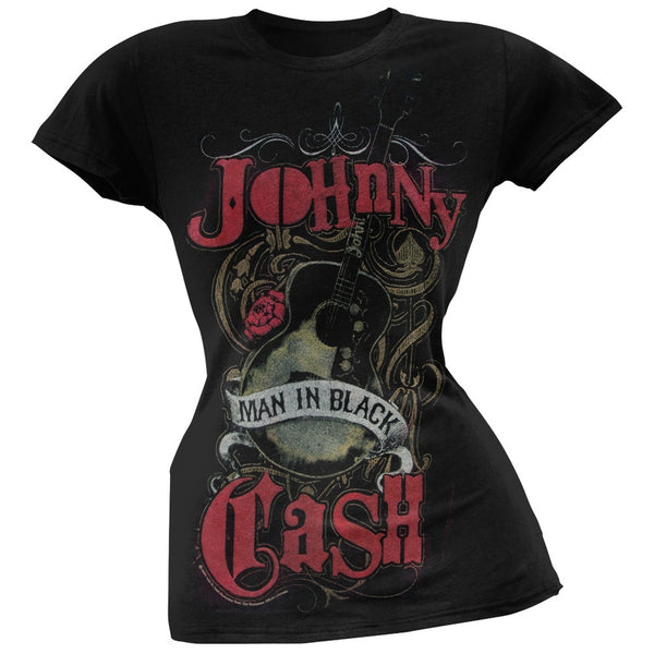 Johnny Cash - Man in Black Crest Juniors T-Shirt