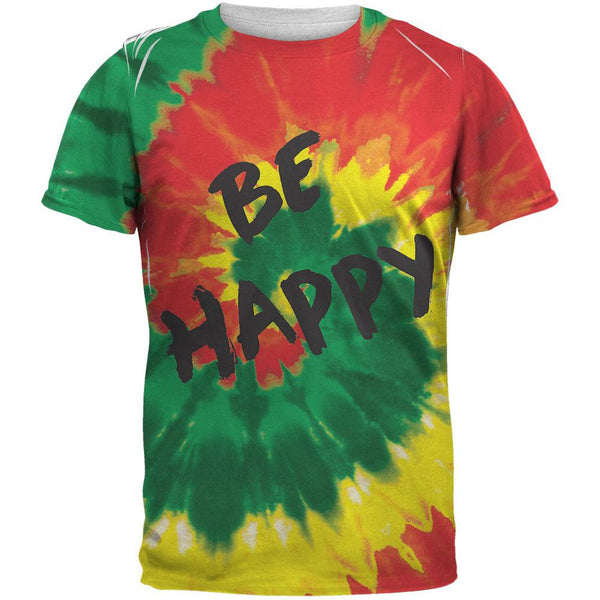Be Happy Rasta Tie Dye All Over Adult T-Shirt