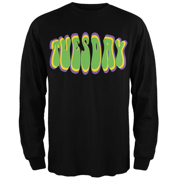 Fat Tuesday Mardi Gras Black Adult Long Sleeve T-Shirt