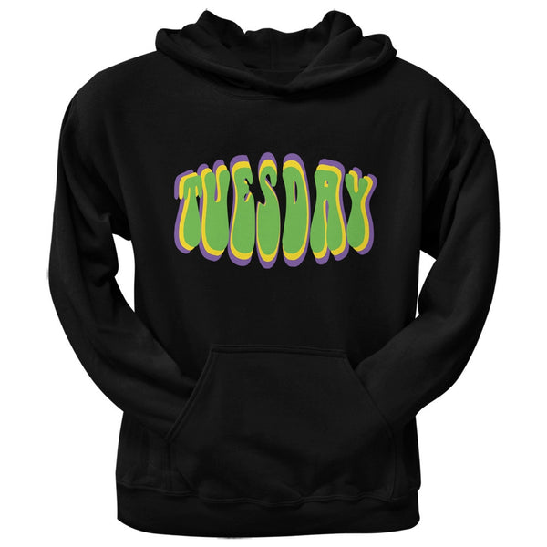 Fat Tuesday Mardi Gras Black Adult Pullover Hoodie