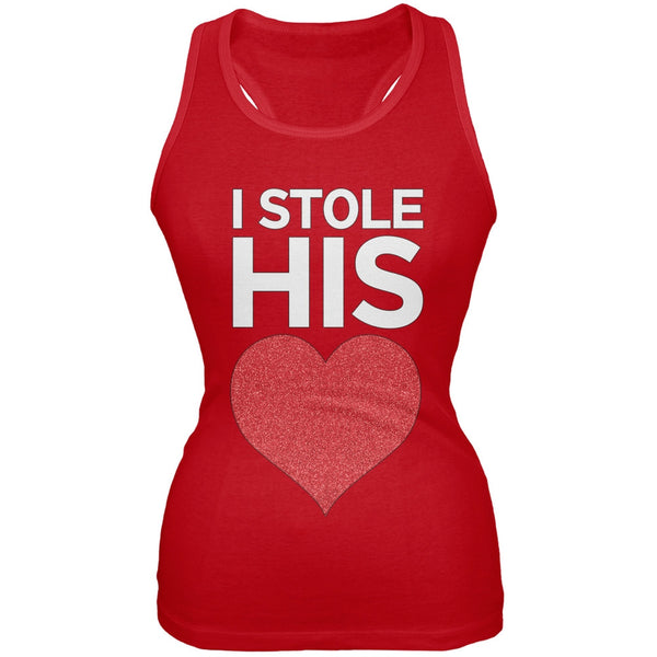 I Stole His Heart Red Juniors Soft Tank Top