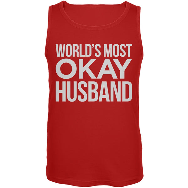 World's Most Okay Husband Red Mens Tank Top