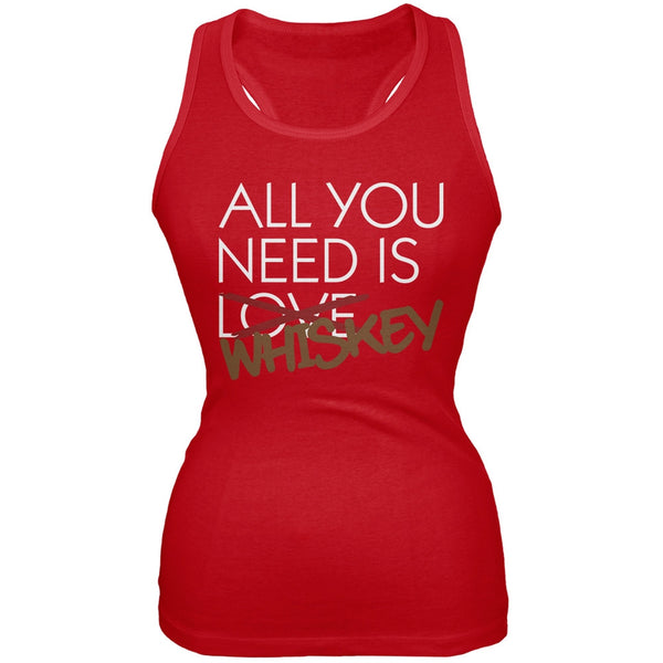 All You Need is Whiskey, Not Love Red Juniors Soft Tank Top