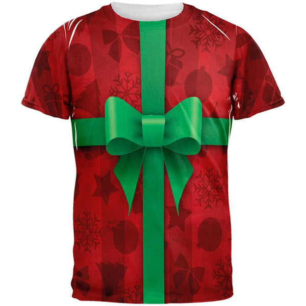 Red Christmas Present Costume All Over Adult T-Shirt