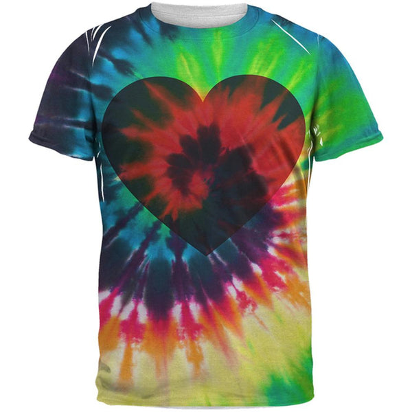 Valentine's Day Heart Tie Dye All Over Adult T-Shirt