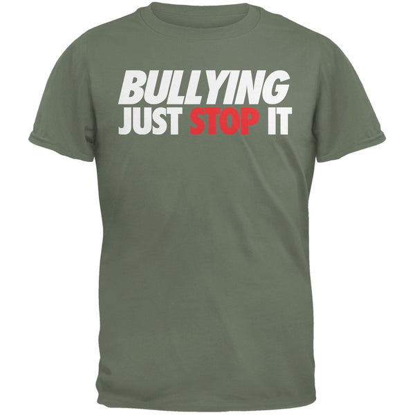 Just Stop It Bullying Military Green Adult T-Shirt