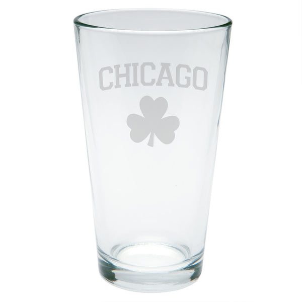 St. Patricks Day - Chicago Shamrock Etched Pint Glass