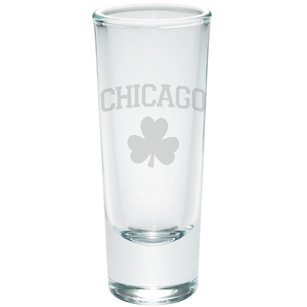 St. Patricks Day - Chicago Shamrock Etched Glass Shooter
