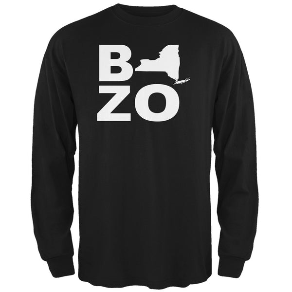 New York Bozo Stacked Black Adult Long Sleeve T-Shirt