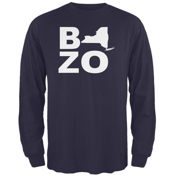 New York Bozo Stacked Navy Adult Long Sleeve T-Shirt