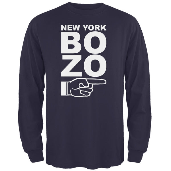 New York Bozo Pointing Right Navy Adult Long Sleeve T-Shirt