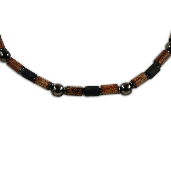 Small Bamboo Bead & Hematite Ball - Necklace