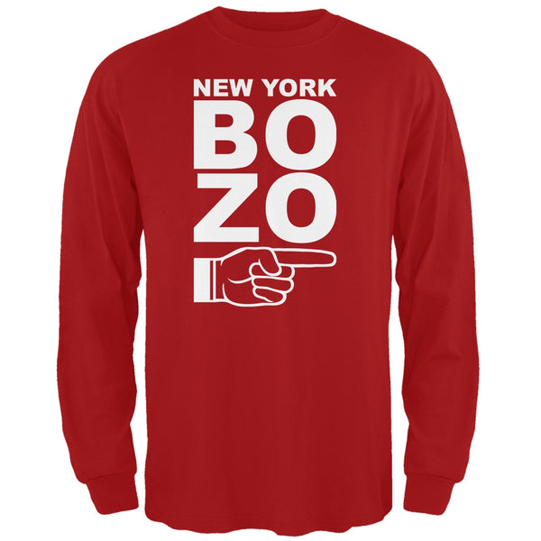 New York Bozo Pointing Right Red Adult Long Sleeve T-Shirt