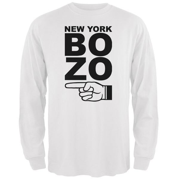 New York Bozo Pointing Left White Adult Long Sleeve T-Shirt