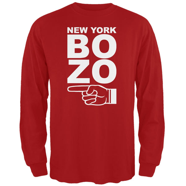 New York Bozo Pointing Left Red Adult Long Sleeve T-Shirt