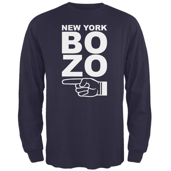 New York Bozo Pointing Left Navy Adult Long Sleeve T-Shirt