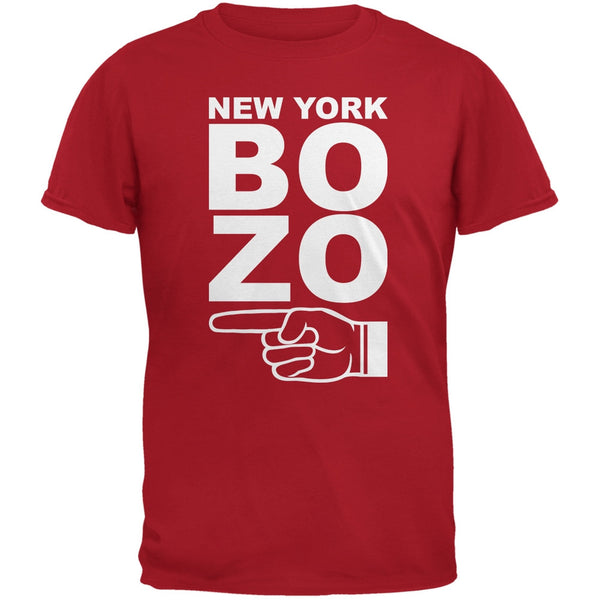 New York Bozo Pointing Left Red Adult T-Shirt