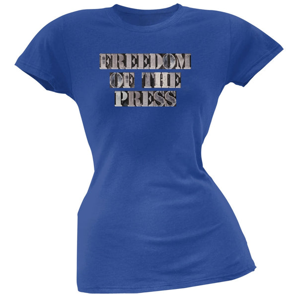 Freedom of the Press Blue Soft Juniors T-Shirt