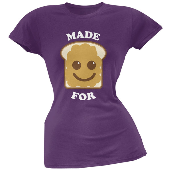 Couples Peanut Butter Sandwich Purple Soft Juniors T-Shirt