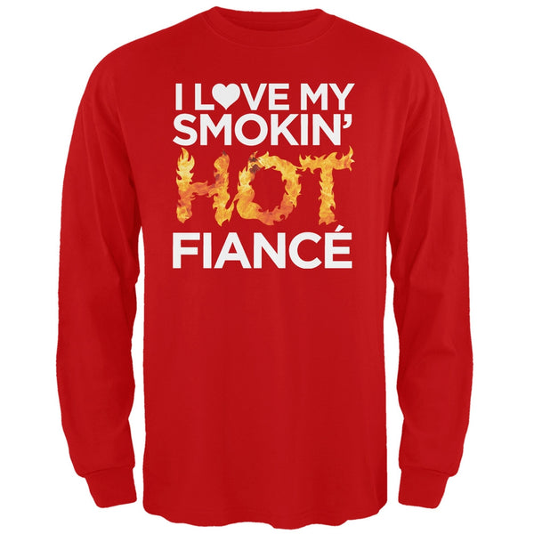 I Love My Smokin Hot Fiance' Black Adult Long Sleeve T-Shirt