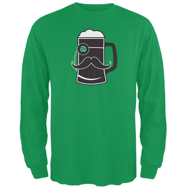 Beer Mug-stache Green Adult Long Sleeve T-Shirt