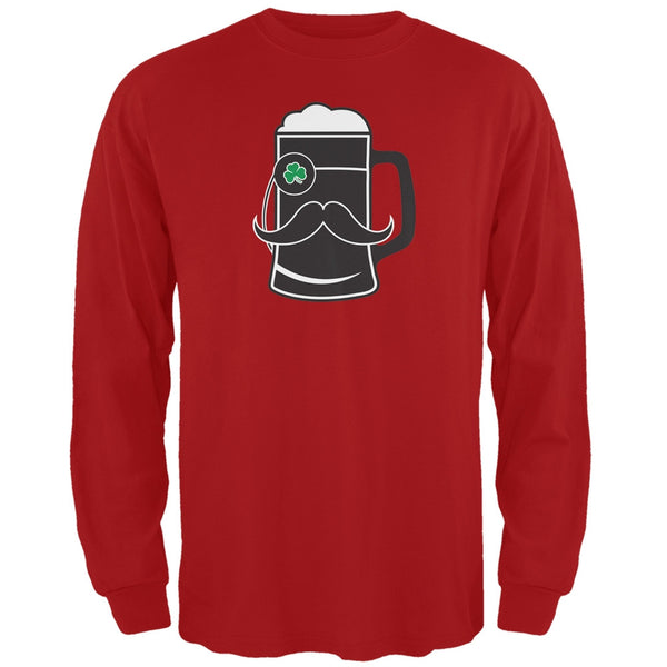 Beer Mug-stache Red Adult Long Sleeve T-Shirt