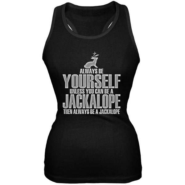 Always Be Yourself Jackalope Black Juniors Soft Tank Top