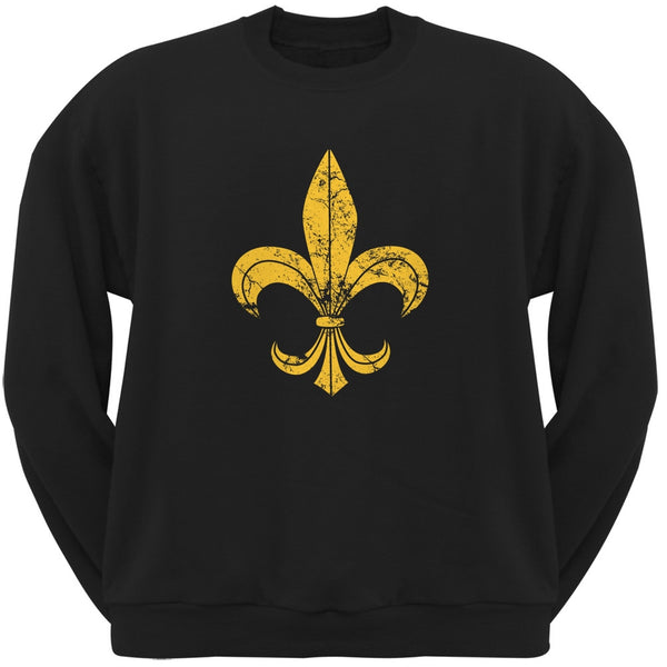 Mardi Gras-Distressed Fleur-de-lis Black Crew Neck Sweatshirt