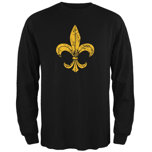 Mardi Gras-Distressed Fleur-de-lis Black Long Sleeve T-Shirt