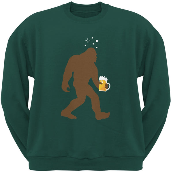 Drunk Sasquatch Forest Green Adult Crewneck Sweatshirt