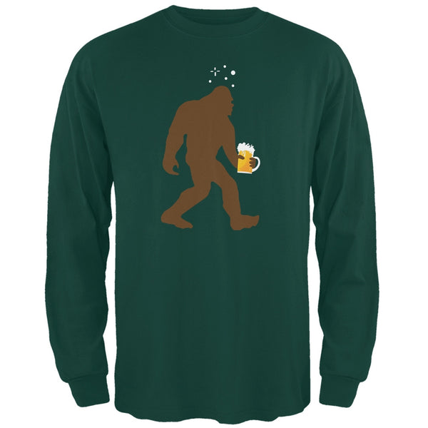 Drunk Sasquatch Forest Green Adult Long Sleeve T-Shirt