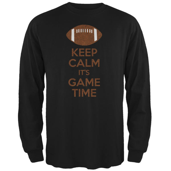 Keep Calm Game Time Football Black Adult Long Sleeve T-Shirt