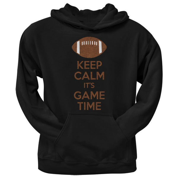 Keep Calm Game Time Football Black Adult Pullover Hoodie