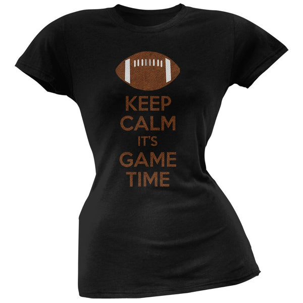 Keep Calm Game Time Football Black Juniors Soft T-Shirt