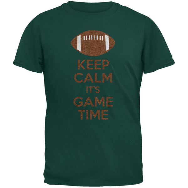 Keep Calm Game Time Football Forest Green Adult T-Shirt