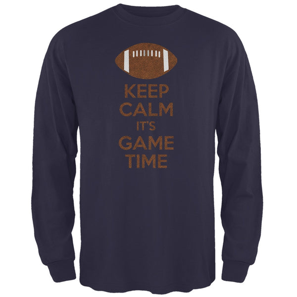 Keep Calm Game Time Football New England Blue Adult Long Sleeve T-Shirt
