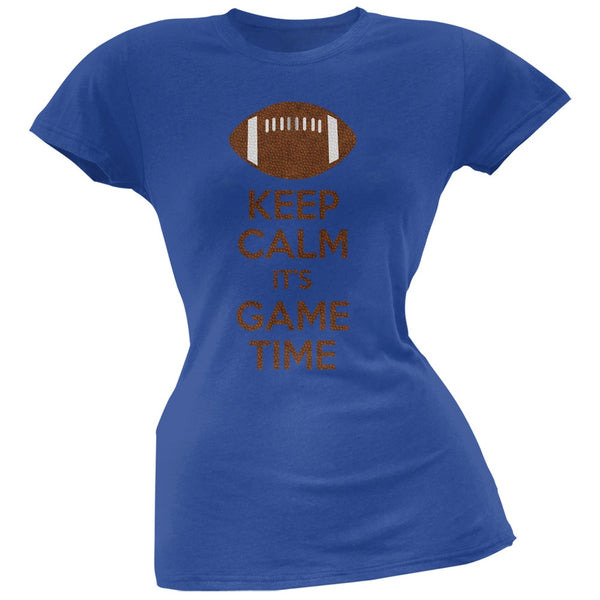 Keep Calm Game Time Football Indianapolis Blue Juniors Soft T-Shirt