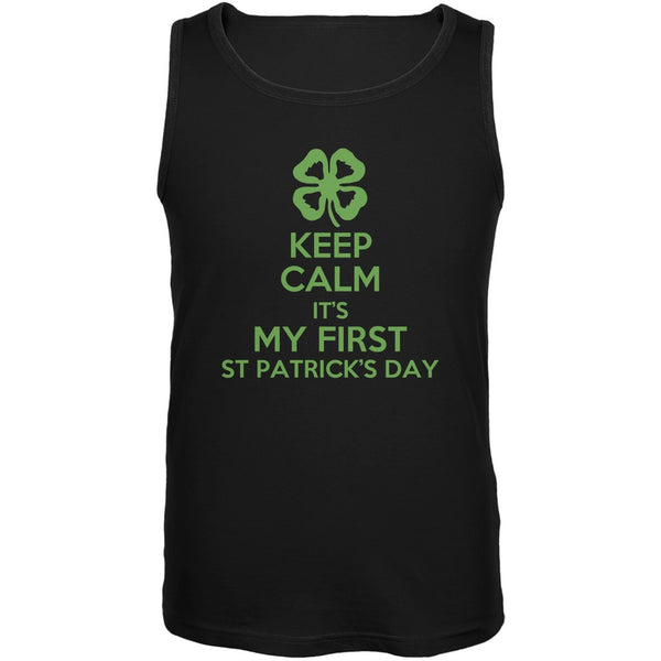 First St Patricks Day Clover Black Adult Soft Tank Top